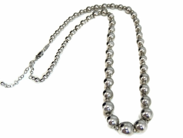 Silver Bead Necklace Graduated Sterling Silver Beads - Premier Estate Gallery  - 1