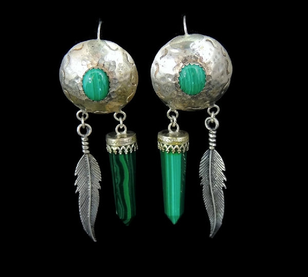 Southwestern Vintage Malachite Dangle Earrings Long Silver Feathers - Premier Estate Gallery  - 1