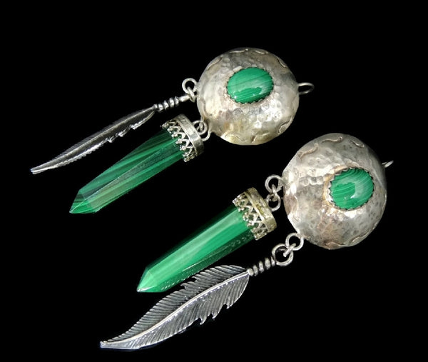 Southwestern Vintage Malachite Dangle Earrings Long Silver Feathers - Premier Estate Gallery  - 2