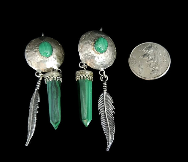 Southwestern Vintage Malachite Dangle Earrings Long Silver Feathers - Premier Estate Gallery  - 3