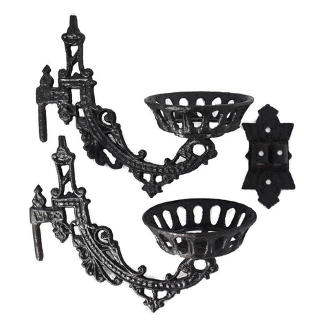Antique Victorian Iron Wall Sconce Oil Lamp Holder - Premier Estate Gallery
