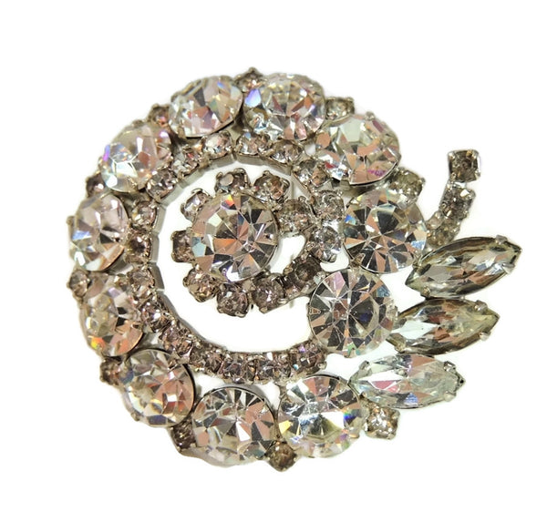 50s AB Rhinestone Layered Brooch Lotus Iridescent Smoke - Premier Estate Gallery  - 7