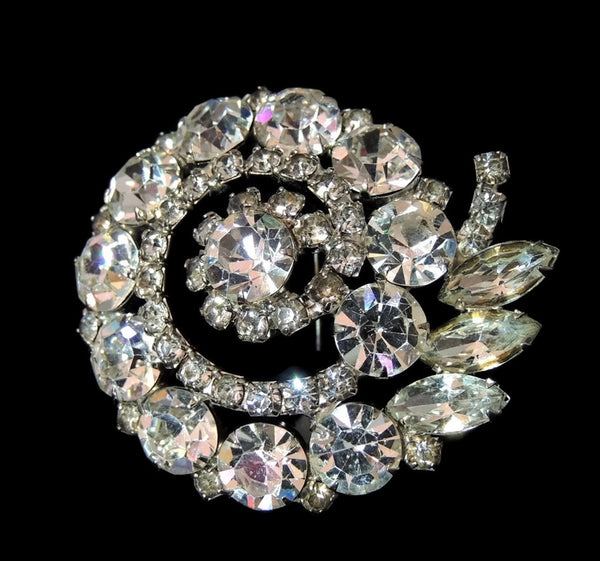 Vintage Rhinestone Fantail Brooch Hollywood Glamour - Premier Estate Gallery - 1