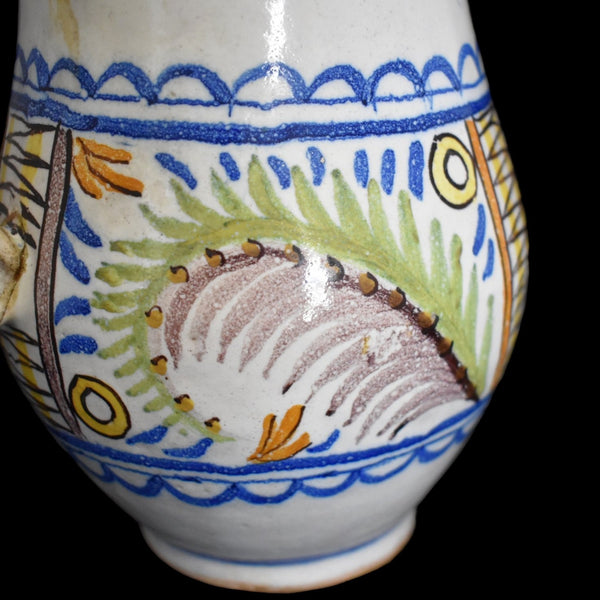 c1800 Faience Tin Glaze Jug Talavera Spain Tin Glaze