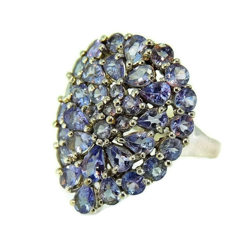Estate Tanzanite Cocktail Ring 10k White Gold 3.5 ctw - Premier Estate Gallery  - 1
