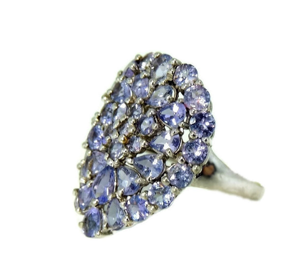 Estate Tanzanite Cocktail Ring 10k White Gold 3.5 ctw - Premier Estate Gallery  - 4