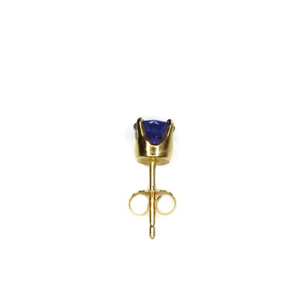 14k Gold Tanzanite Stud Earring Single Earring .65 ct
