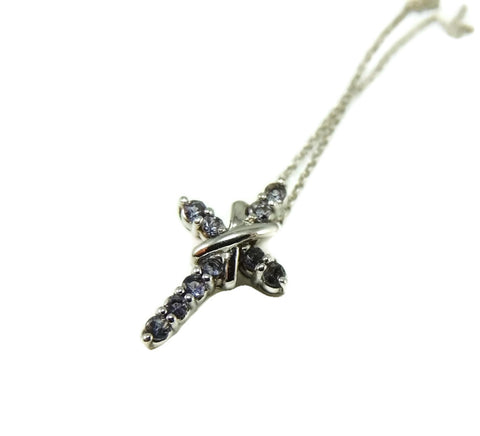 Tanzanite Gemstone Cross 14k White Gold w Chain - Premier Estate Gallery  - 1