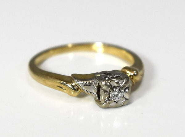 Deco Era 14k Diamond Engagement Ring .10 ct Reasonably Priced - Premier Estate Gallery