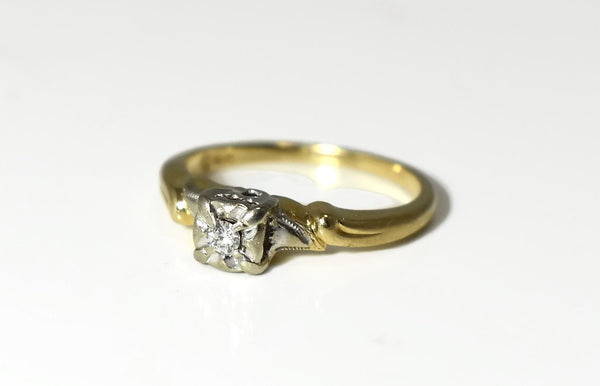Deco Era 14k Diamond Engagement Ring .10 ct Reasonably Priced- Premier Estate Gallery 2