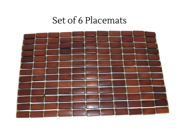 Vintage Teak Slat Placemats Great MCM Decor Set of 6 - Premier Estate Gallery