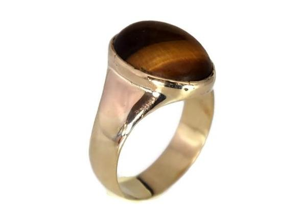 86de235e7 ... 14k Men's Tiger's Eye Ring Vintage Mid Century Gold Ring - Premier  Estate Gallery 2 ...