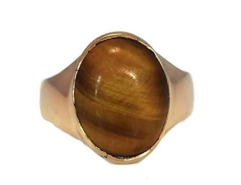 14k Men's Tiger's Eye Ring Vintage Mid Century Gold Ring - Premier Estate Gallery