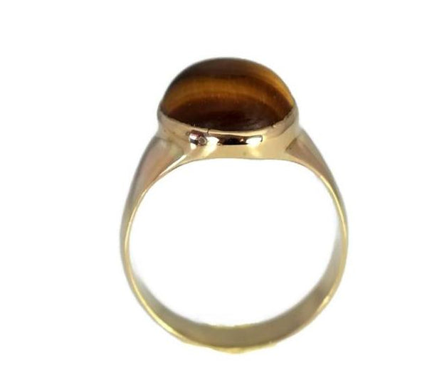 14k Men's Tiger's Eye Ring Vintage Mid Century Gold Ring - Premier Estate Gallery 4