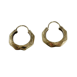 Antique 10k Gold Art Deco Etched Hoop Earrings Griffith & Sons - Premier Estate Gallery