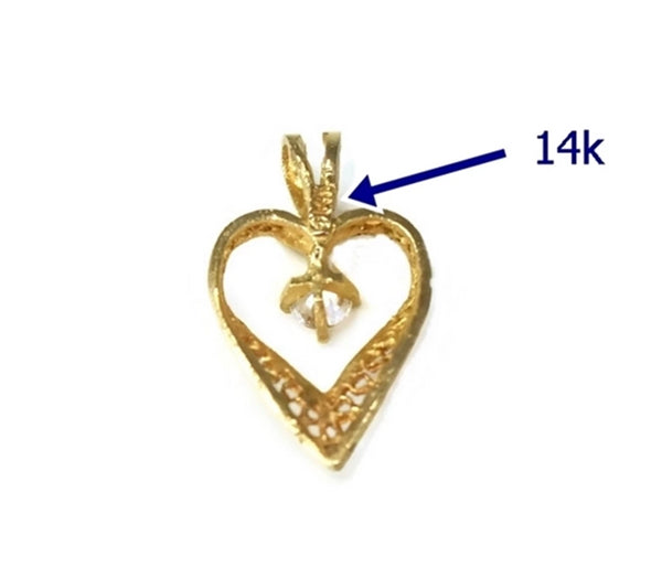 14k Gold Filigree Heart Pendant Little Girl Teen Gift
