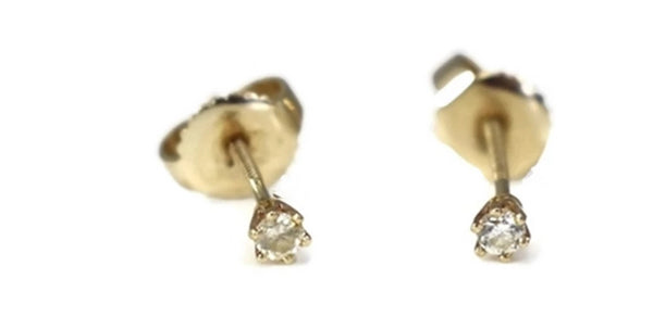 Small 14k Gold Diamond Earrings - Premier Estate Gallery