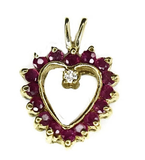 Estate 14k Ruby Diamond Heart Pendant 3/4 Inch Dainty - Premier Estate Gallery