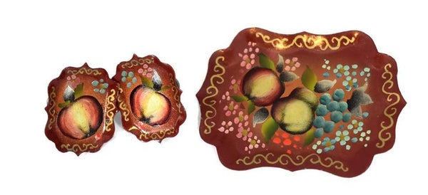 Vintage Toleware Tray Fruit Jewelry Set Brooch and Screwback Earrings c1950 - Premier Estate Gallery 1