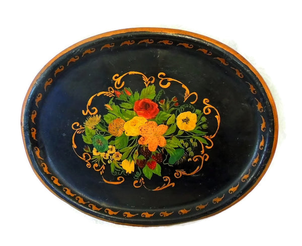 19th Toleware Tole Painted Tin Tray Large in Size - Premier Estate Gallery  - 1