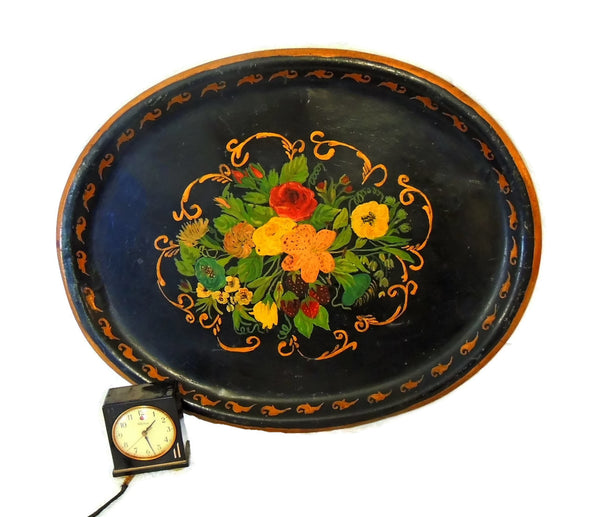 19th Toleware Tole Painted Tin Tray Large in Size - Premier Estate Gallery  - 2