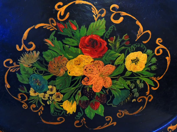 19th Toleware Tole Painted Tin Tray Large in Size - Premier Estate Gallery  - 3