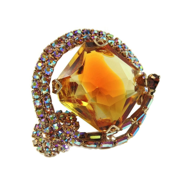 Big Vintage AB Rhinestone Topaz Brooch - Premier Estate Gallery  - 2