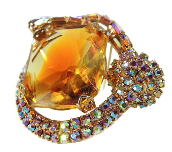 Big Vintage AB Rhinestone Topaz Brooch - Premier Estate Gallery