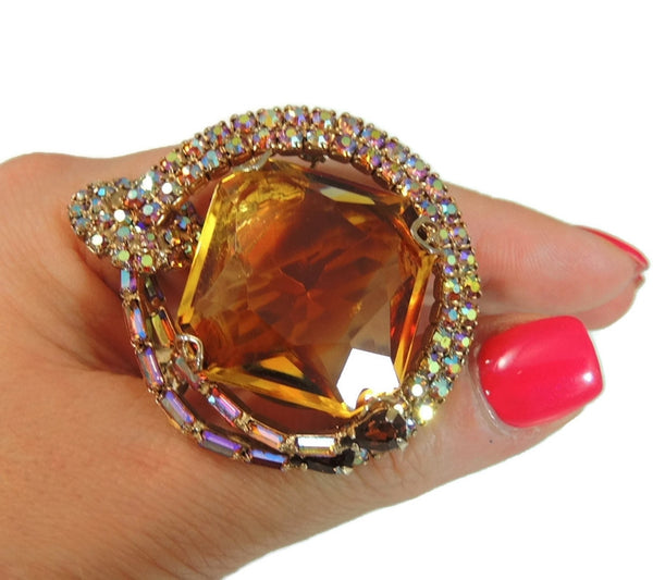 Big Vintage AB Rhinestone Topaz Brooch - Premier Estate Gallery  - 4