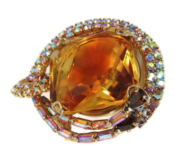Big Vintage AB Rhinestone Topaz Brooch - Premier Estate Gallery  - 5