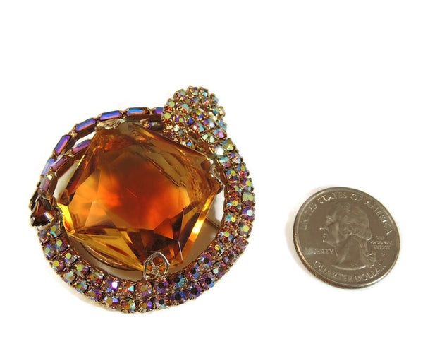 Big Vintage AB Rhinestone Topaz Brooch - Premier Estate Gallery  - 6