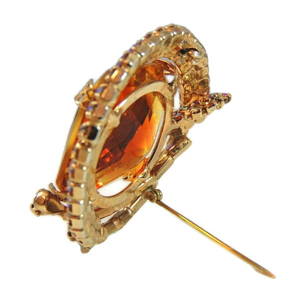 Big Vintage AB Rhinestone Topaz Brooch - Premier Estate Gallery  - 8