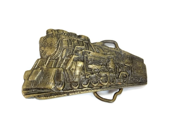 Big Vintage Brass Locomotive Train Buckle