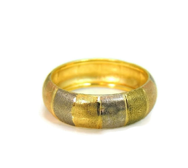 14k Tri-Color Gold Band Ring Satin Matte Finish - Premier Estate Gallery  - 2