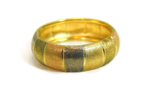 14k Tri-Color Gold Band Ring Satin Matte Finish