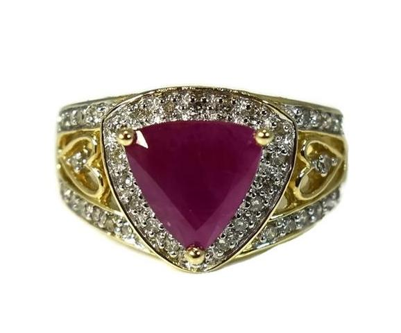14k Trillion Ruby Diamond Heart Filigree Ring Open Work Gold Setting