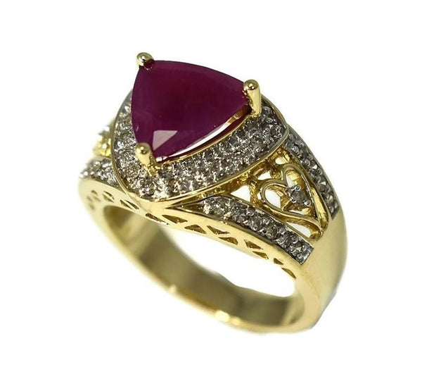 14k Trillion Ruby Diamond Heart Filigree Ring Open Work Gold Setting - Premier Estate Gallery 2