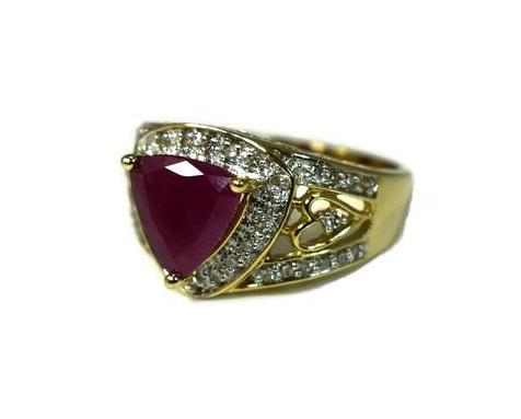 14k Trillion Ruby Diamond Heart Filigree Ring Open Work Gold Setting - Premier Estate Gallery 3