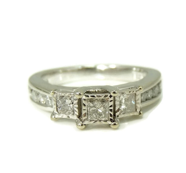 Estate Diamond Engagment Ring Princess Cut 10k White Gold over 1 CTW - Premier Estate Gallery  - 2
