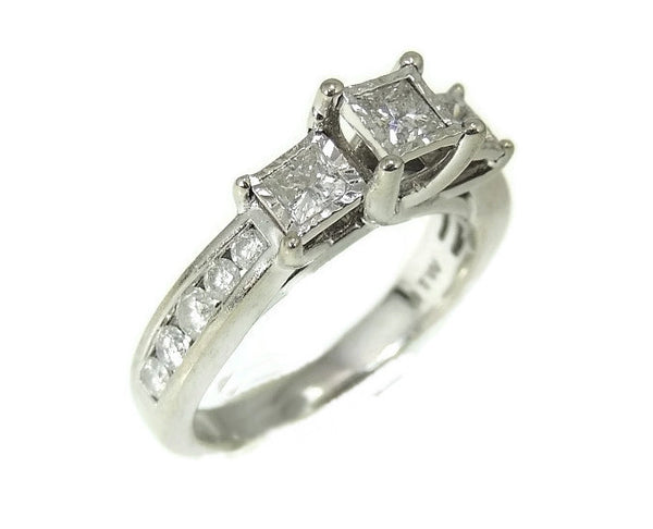 Estate Diamond Engagment Ring Princess Cut 10k White Gold over 1 CTW - Premier Estate Gallery  - 1