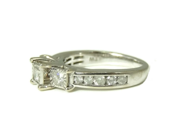 Estate Diamond Engagment Ring Princess Cut 10k White Gold over 1 CTW - Premier Estate Gallery  - 3