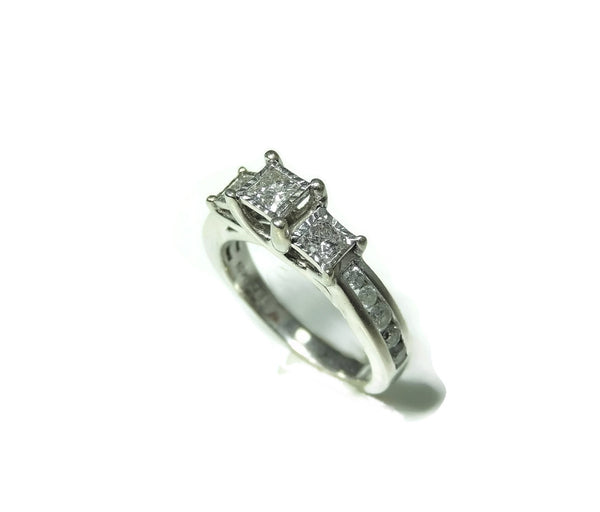 Estate Diamond Engagment Ring Princess Cut 10k White Gold over 1 CTW - Premier Estate Gallery  - 5