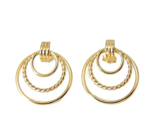 Classic Triple Circle 14k Gold Earrings - Premier Estate Gallery  - 1