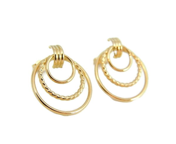 Classic Triple Circle 14k Gold Earrings - Premier Estate Gallery  - 2
