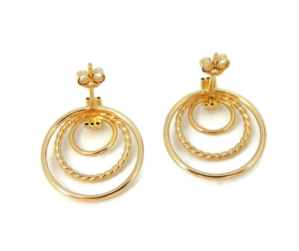 Classic Triple Circle 14k Gold Earrings - Premier Estate Gallery  - 3