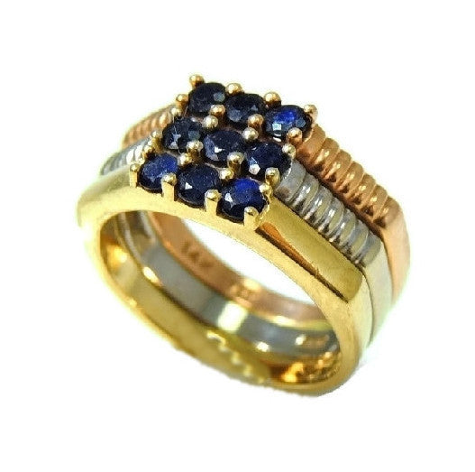 14k Sapphire Tri Color Gold Ring .81 ctw