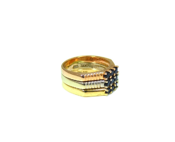 14k Sapphire Tri Color Gold Ring .81 ctw - Premier Estate Gallery  - 2