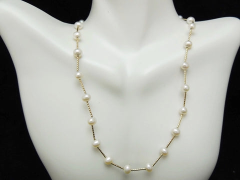 Cultured Pearl 14k Gold Station Necklace Choker - Premier Estate Gallery  - 1