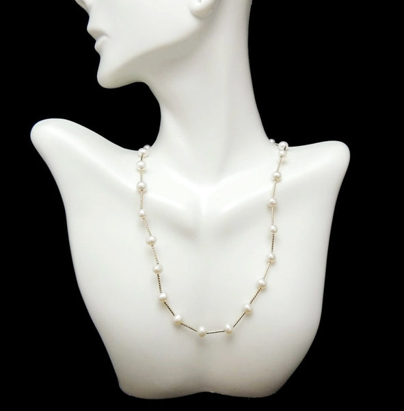 Cultured Pearl 14k Gold Station Necklace Choker - Premier Estate Gallery  - 3