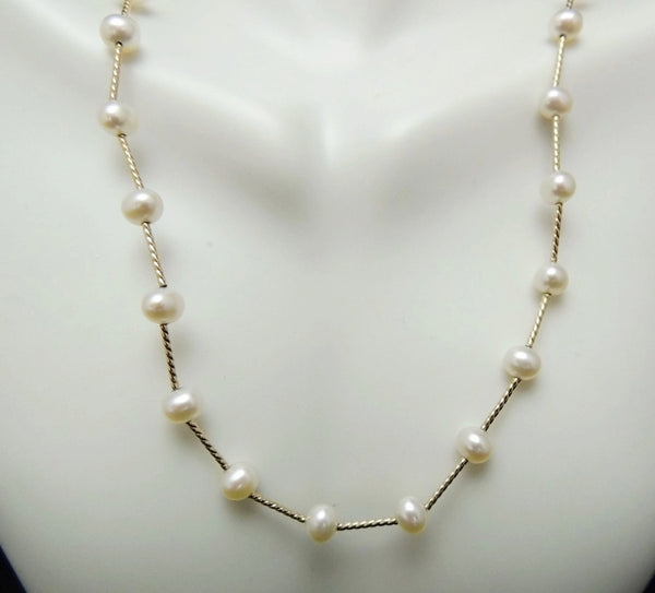 Cultured Pearl 14k Gold Station Necklace Choker - Premier Estate Gallery  - 4